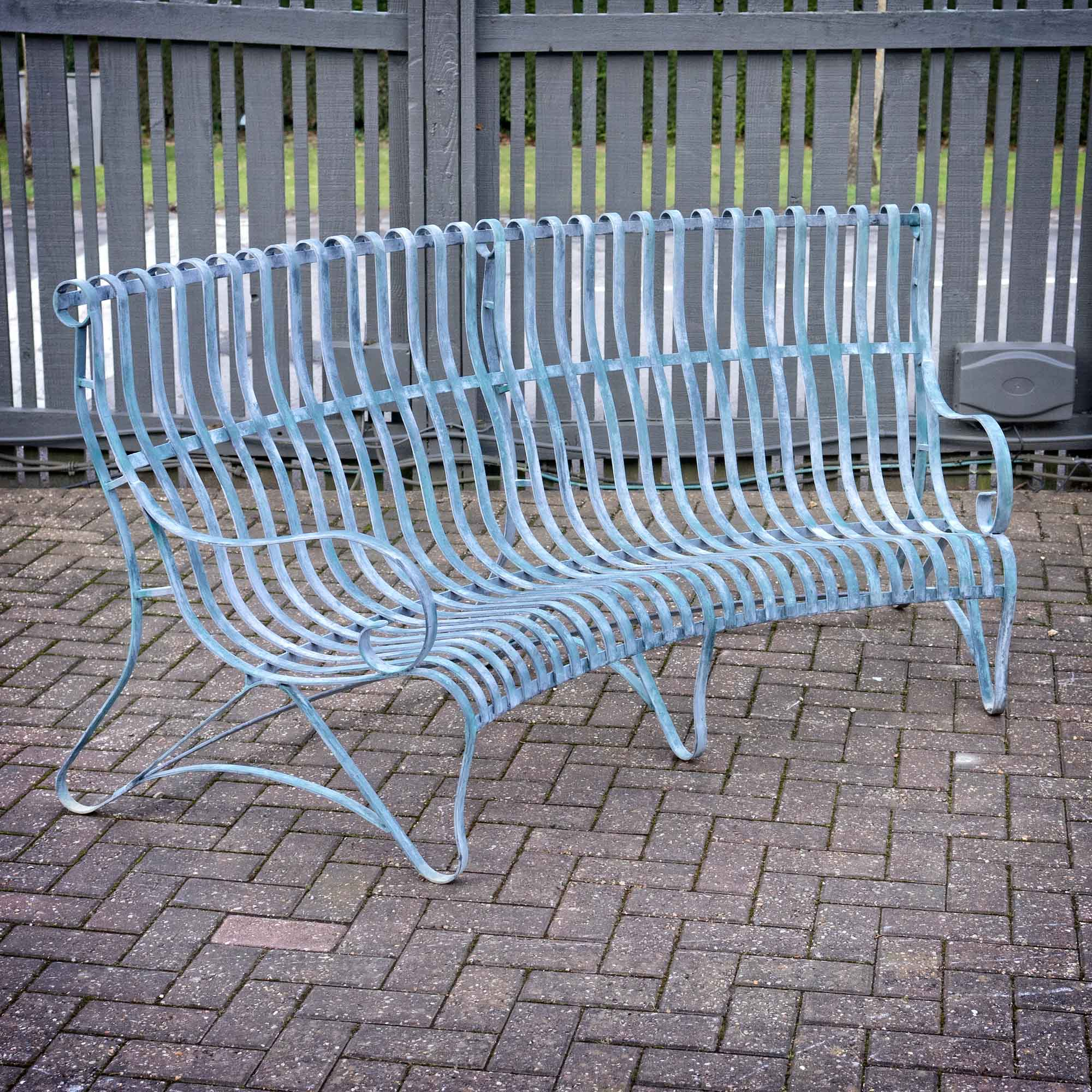 Verdigris Curved Garden Bench U2013 3 Seater ...