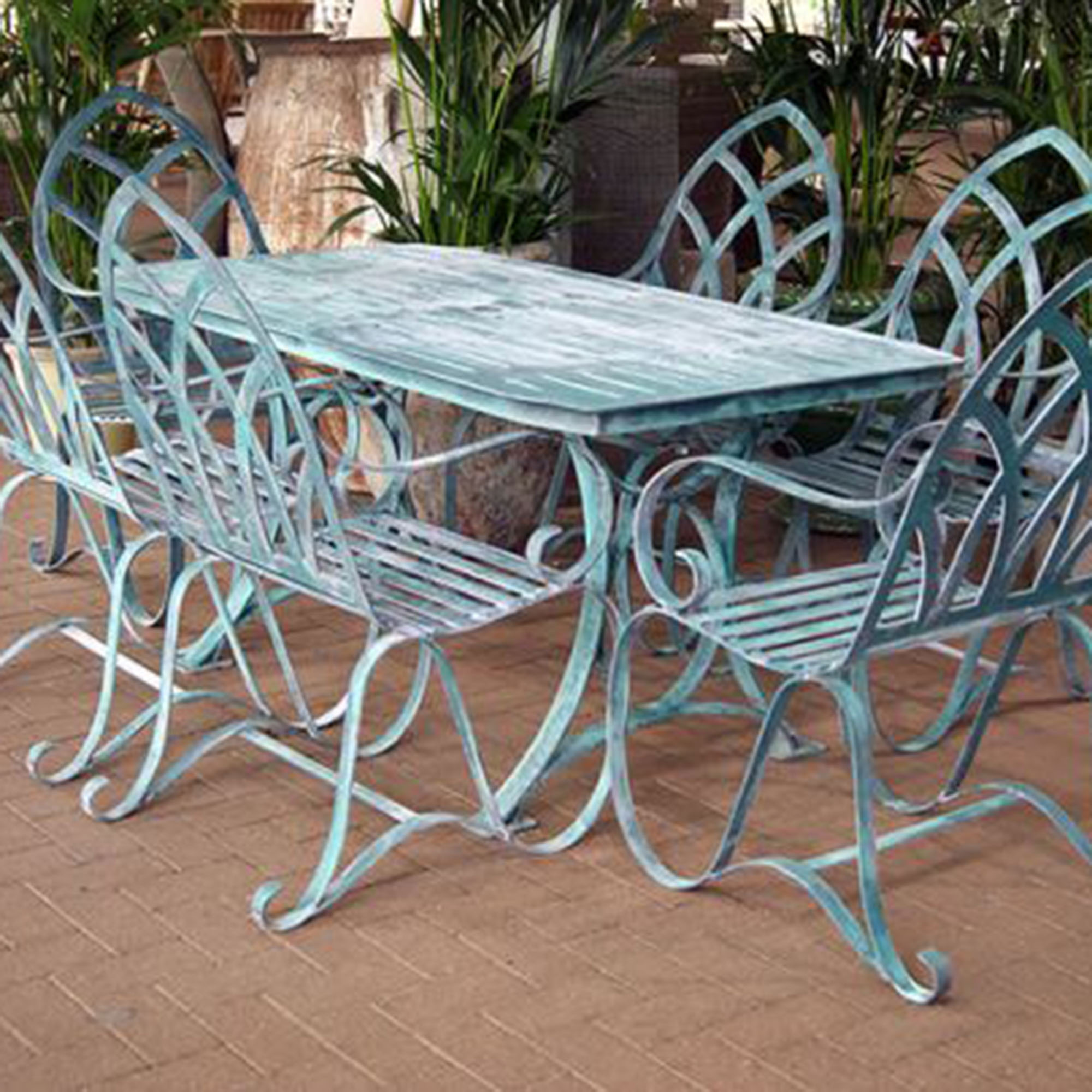 Buy verdigris gothic garden dining set for 6 burford garden company Metal garden furniture sets