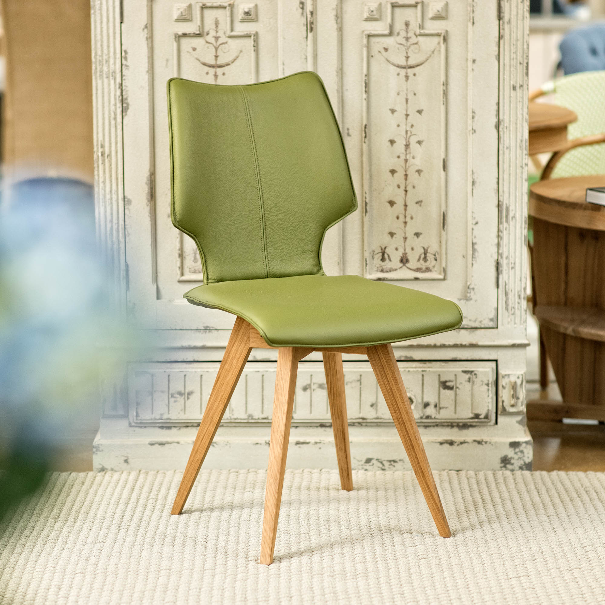 ... Clipper Leather Covered Dining Chair   Olive Green