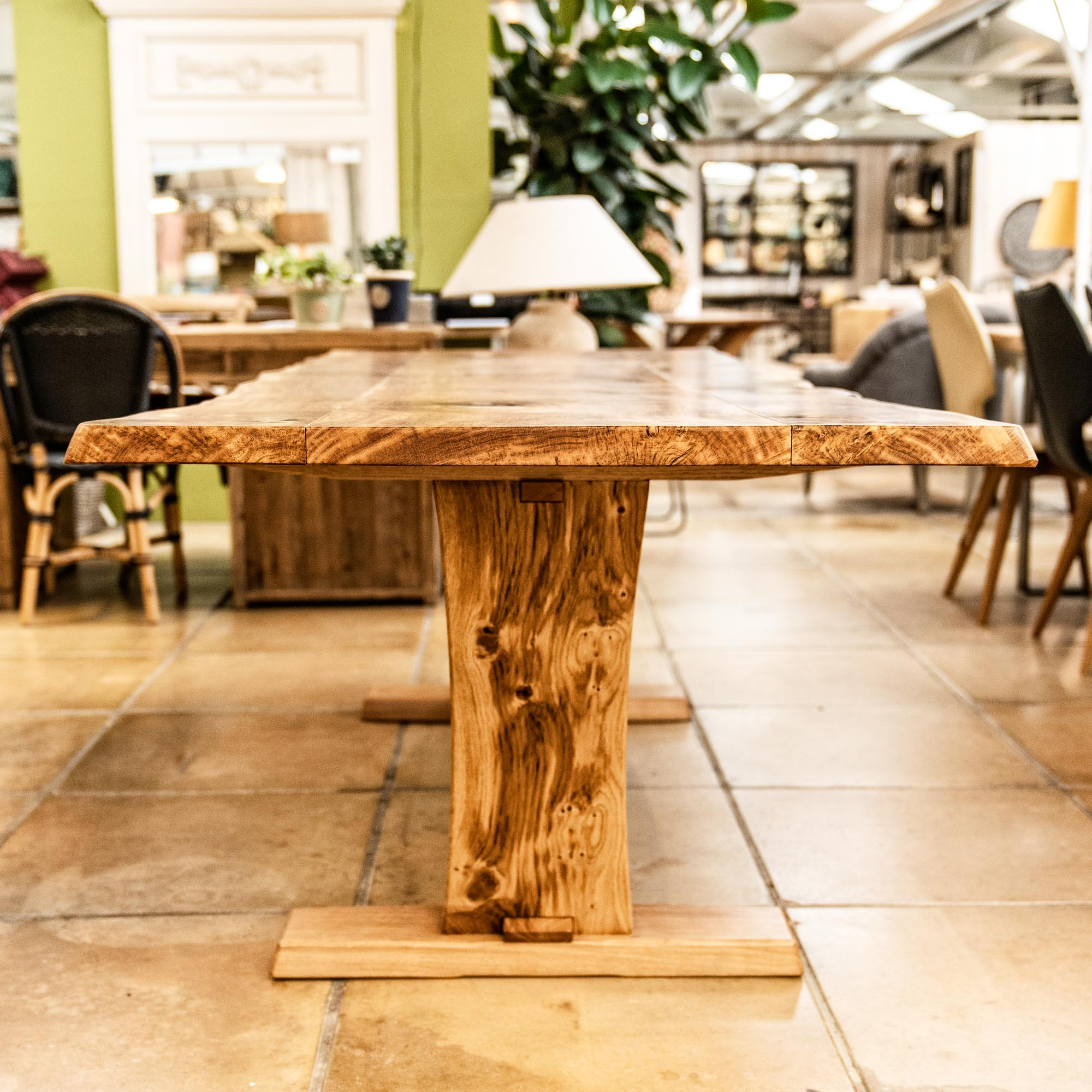 Buy handcrafted oak planked trestle table quality handmade furniture burford garden company
