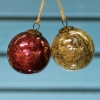 Glass Crackle Baubles - Large Red and Gold