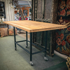 Teak Breakfast Bar Table on Castors Iron Black