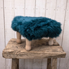 Angharad Sheepskin Footstool - Teal