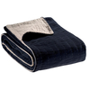 Elise Quilted Plain Velvet Throw Cobalt Blue