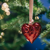 Heart Glass Decorations Red