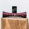 Portable Natural Speaker Mango Wood Dark Red Flower Large