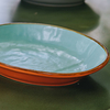 Mediterranean Oval Bowl - Orange and Turquoise