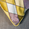 Harlequin Cushion, Sun Yellow, (detail of corner)