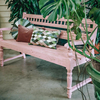 Indian Mango Wood Bench Bobbin Dusty Rose