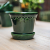 Emerald Glazed Copenhagen Pot with optional Saucer