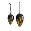 Giant Danoa Drop Aged Amber & Black Glass Baubles