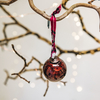 Small Red Isala Hammered Glass Bauble