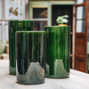 Emerald Green Glazed Oak Vases