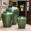 Emerald Glazed Willow Vases