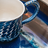Indigo Organic Glass Tray, detail  (mug not included)