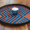 Midnight Chevron Glass Tray (mug not included)