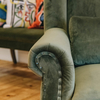 Velvet Wide Armchair Dark Green arm