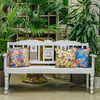 Indian Mango Wood Benches Fiddle White - 3 Seater
