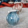 Selborne Small Rounded Bellied Jug - Blue Pinstripe