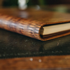 Wooden Cover A5 Notebook, Camphor Burr, view of spine
