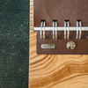 Wooden Cover B5 Notebook, Olive Ash Burr (detail of spiral binding)