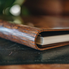 Wooden Cover B5 Notebook, Walnut Burr (detail of spine)