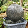 Leaf Ball Zinc Water Feature with Octagonal Base