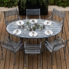 6-Seater (180cm) Oval Garden Dining Set with Carver Chairs