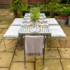 2-seater Antique Finish Backless Garden Dining Bench as part of a larger set, available separately (cushions not included)
