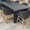 Alexi Teak Dining Table Black with Charley Armchairs (not included)