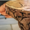 Round Driftwood Bar Table, detail of table top