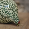 Small Ceramic Guinea Fowls Pecking - Mint and Green