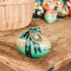Large Fine de Champagne Truffle Eggs - in green with yellow flowers pattern