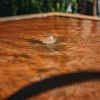 Corten Steel Water Feature, Square, detail of water surface
