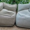 Dotty Corner Poufs Extra Large - Grey and Navy