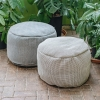 Dotty Round Pouf  Small - Beige and Navy