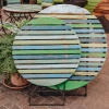 Folding Teak Garden Table, Small, with chairs (not included)
