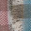 Celtic Weave All Wool Throw - Dusky Pink and Blue Fringing Detail