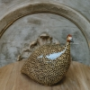 Large Ceramic Guinea Fowl in Brown and Yellow