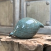Large Ceramic Pecking Guinea Fowls in Blue and Turquoise