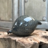 Large Ceramic Pecking Guinea Fowls in Grey and Blue