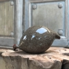 Large Ceramic Pecking Guinea Fowls in Grey and Brown