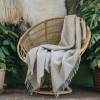Burford Recycled Diagonal Throw - Latte