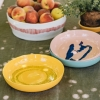 High Sided Plates in Sunny Yellow with Black Swirl Dots