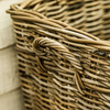 Tapered Rectangular Grey Kubu Rattan Basket with Handles