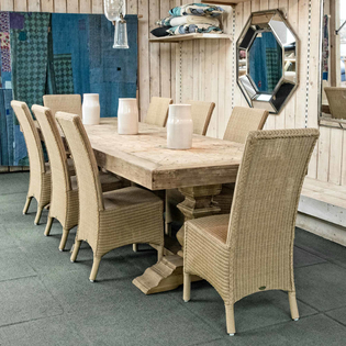 Woodcroft Salvaged Trestle Dining Table (chairs not included)
