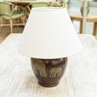 Elephant Lamp with Natural raw silk shade