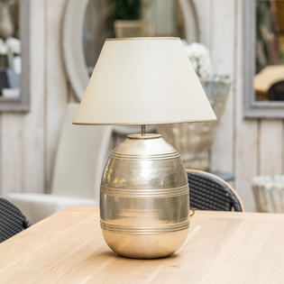 Silvered Brass Ridged Pot Lamp