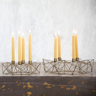 Derwala Geometric Candleholders - Antique Brass