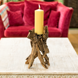 Driftwood Candlestick (candle not included)
